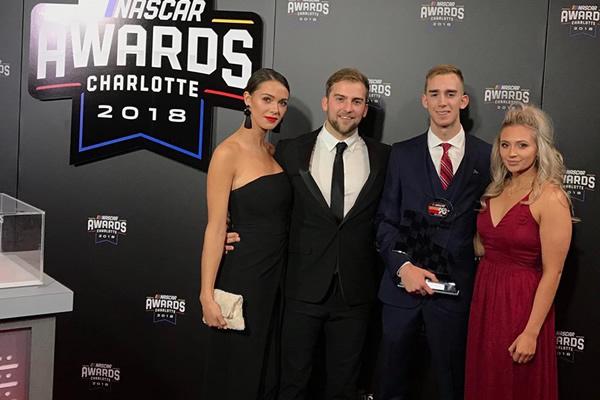 Colin Garrett receives 2 awards at the NASCAR Touring Series 2018 Banquet
